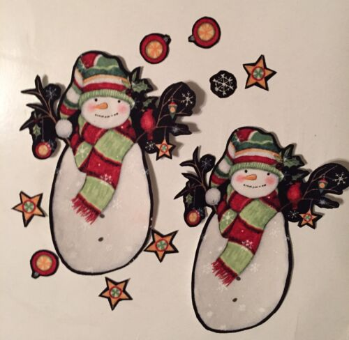 4 Large Christmas Snowmen Iron On Fabric Appliques Craft Show Projects