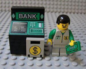 LEGO Minifig Decorated Delux ATM Bank Money Machine Cash Dollar Safe Banker