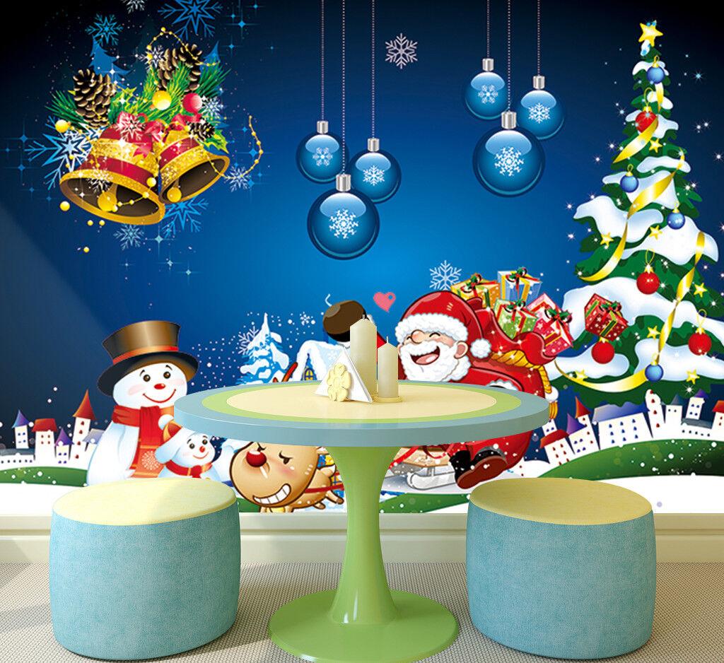 3D Santa Claus Pine 716 Wallpaper Murals Paper Wall Print Wallpaper Mural UK