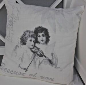 Coussin-40x40cm-Violon-pression-blanc-REMPLISSAGE-decoratif-enfants-motif-Poste