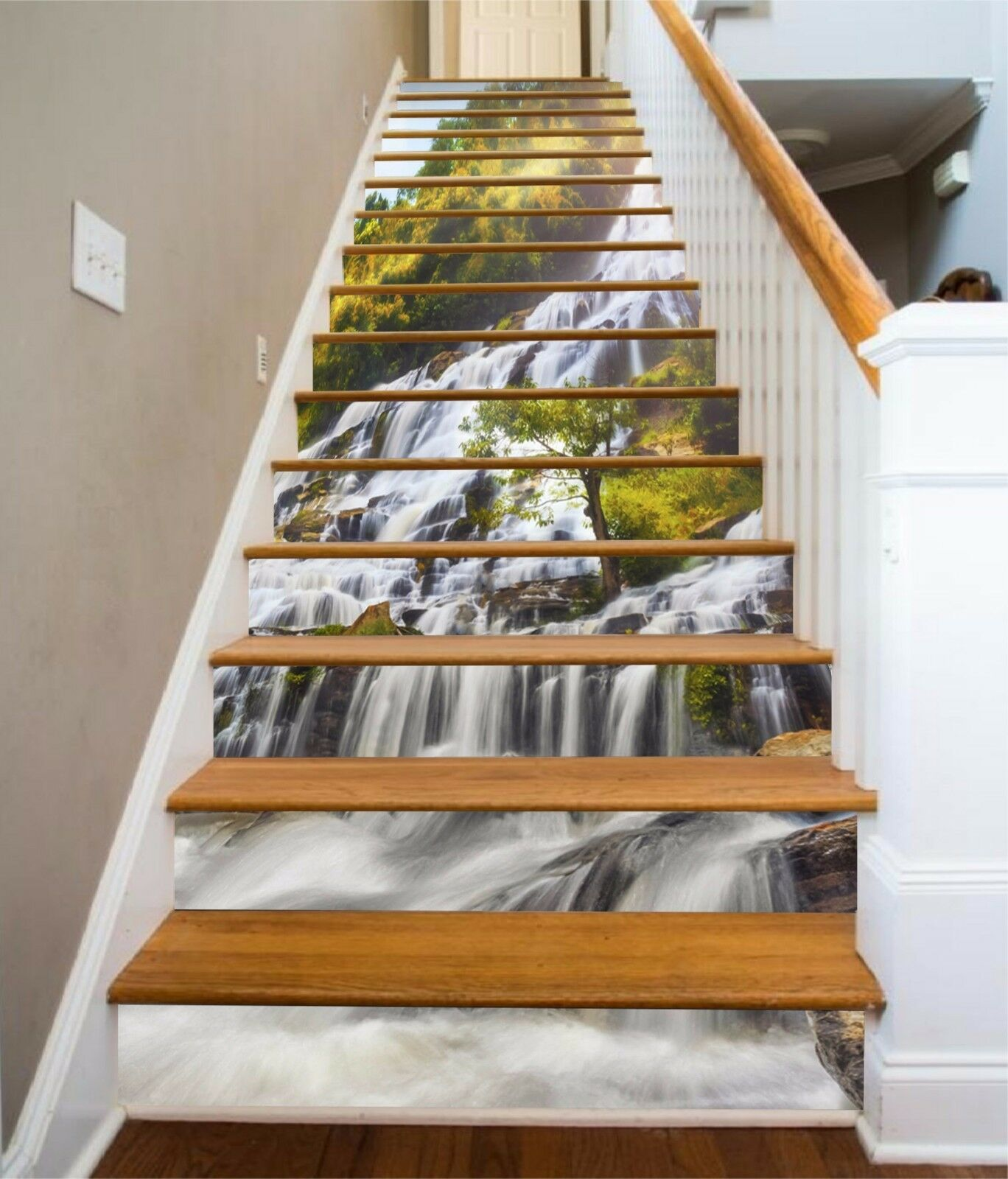 3D Waterfall 703 Stair Risers Decoration Photo Mural Vinyl Decal Wallpaper AU