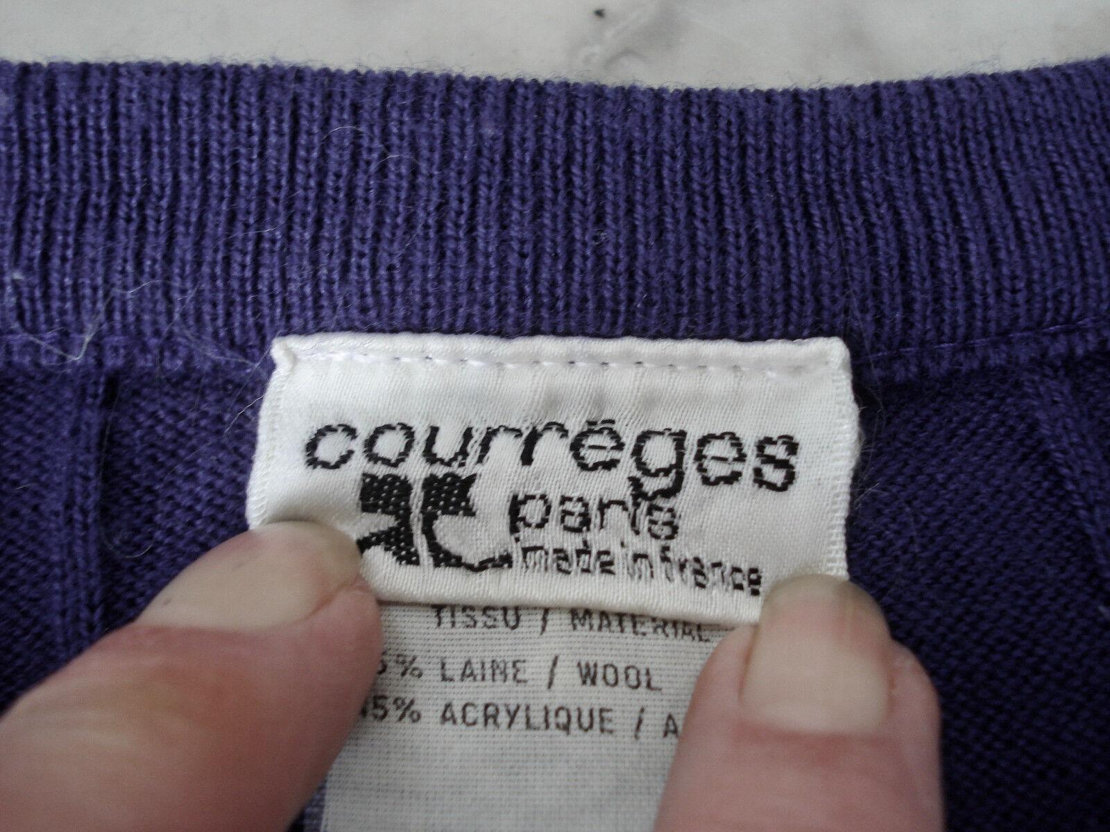 Vintage 1970's 1970's 1970's Paris, ANDRE COURREGES Ribbed Sweater, LAPIS bluee L dc6643