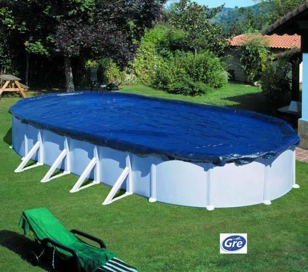 Copertura invernale per piscina  ovale 1000x550  - 100 g m. Dim  1115x660  GRE