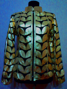 Gold-Leather-Leaf-Jacket-Women-All-Colors-Sizes-Genuine-Zip-Short-Handmade-D1