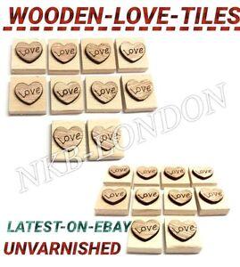 En bois coeur amour symbole scrabble carreaux pour les mariages craft scrapbooking uk p&p  </span>
