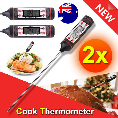 2X Digital Food Thermometer Probe LCD Temperature Kitchen Cooking BBQ Meat Jam