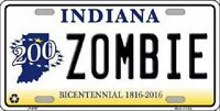 Zombie Indiana Novelty Metal License Plate