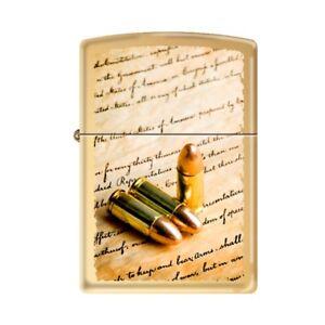 Details about ZIPPO 2nd Amendment Bullets Lighter High Polished Brass Case  Bill Of Rights Gun