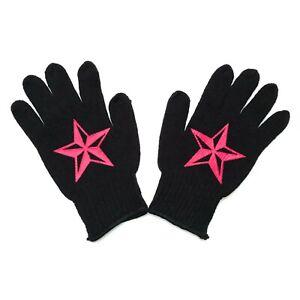 Gothic Horror Rockabilly Punk 80s 90s Red Nautical Star Biker Black Work Gloves