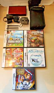 Nintendo-DS-Lite-Crimson-Red-Black-Handheld-System-w-Games-case-charger-Bundle