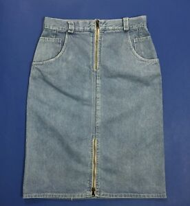vintage-mini-gonna-jeans-W28-tg-42-vita-alta-retro-zip-denim-tubo-tubino-T3924