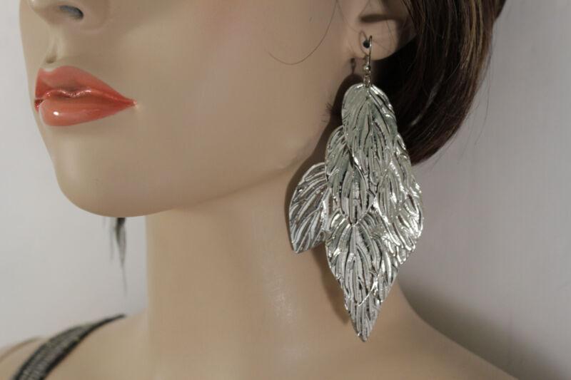 Sexy Women Fashion Jewelry Flowers Earrings Set Silver Metal Leaf Long Dangle