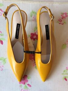 Details about Zara Real Leather Yellow Kitten Heeled Pointed Slingbacks, UK  Size 5 New