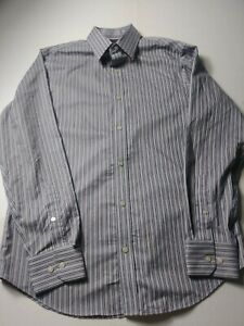 Banana-Republic-Homme-non-fer-Coupe-Slim-Chemise-Taille-M-Gris-a-rayures-a-manches-longues