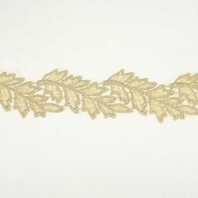 Leaf Metallic Embroidery Antique Lace Trim #319 by the yard Bridal Wedding Lace