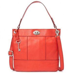 Bag Tomato Leather Crossbody Shoulder Handbag Fossil Hunter Hobo fqwxSBA