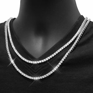 Mens Tennis Link Necklace 4mm White Gold Finish Choker ...