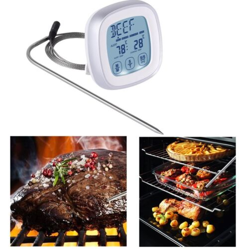 Portable Touchscreen Digital Meat Food Cooking Thermometer Timer with Probe NEW