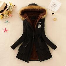 Womens Warm Long Coat Fur Collar Hooded Jacket Slim Winter Parka Outwear D