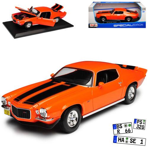 Generation 1970-1981 1//18 Maisto Mode Chevrolet Camaro Z28 Orange mit Schwarz 2