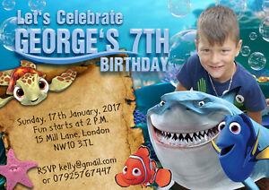 Detalles De 10 X Invitaciones De Cumpleaños Foto Personalizado O Tarjetas De Agradecimiento Finding Nemo Ver Título Original