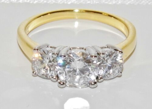 9CT YELLOW GOLD /& SILVER 2.00 CARAT 3 STONE ENGAGEMENT RING size Q