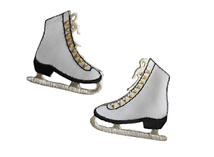 3391-Lot-2Pcs-Pair-Ice-Skate-Shoes-Embroidery-Iron-On-Applique-Patch