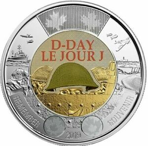 2019-Canada-Dday-75th-anniversary-1944-2019-2-COLOURED-Toonie-THREE-COINS