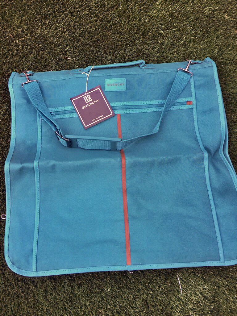 Vintage 80s Teal verde Travel Suit Garment Bag GIVENCHY With Tag