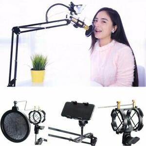 360-Microphone-Suspension-Boom-Scissor-Stand-Phone-Holder-For-Broadcast-Studio