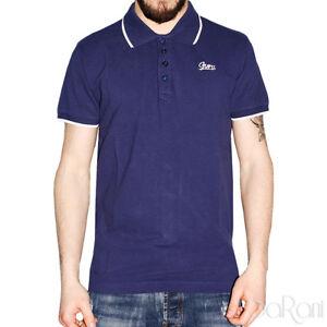 Polo-Uomo-GURU-Sport-Cotone-Maniche-Corte-Colletto-T-Shirt-Blu-Tinta-unita-Slim