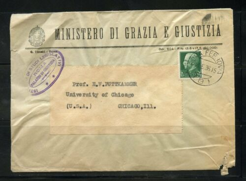 ITALY MINISTRY OF JUSTICE 1935 COVER TO UNIVERSITY OF CHICAGO TORN & TATTERED