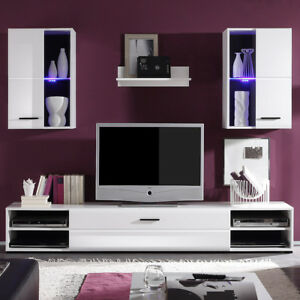Details zu Wohnwand Final Lux Anbauwand Wohnzimmer Schrankwand in weiß  Vitrinen mit LED