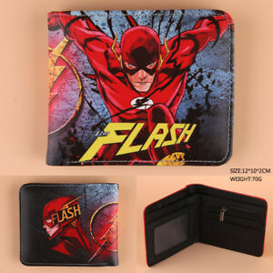 7a7841e938 Details about Justice League The Flash/Superman Short Fold Wallet PU  Leather Purse Card Holder