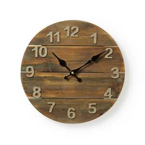 Wooden-Rustic-Distressed-Wall-Clock-30cm-Diameter-Shabby-Chic-Kitchen