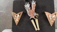 Boxed Set Bolo Tie & Collar Tips- Tri-color Eagles