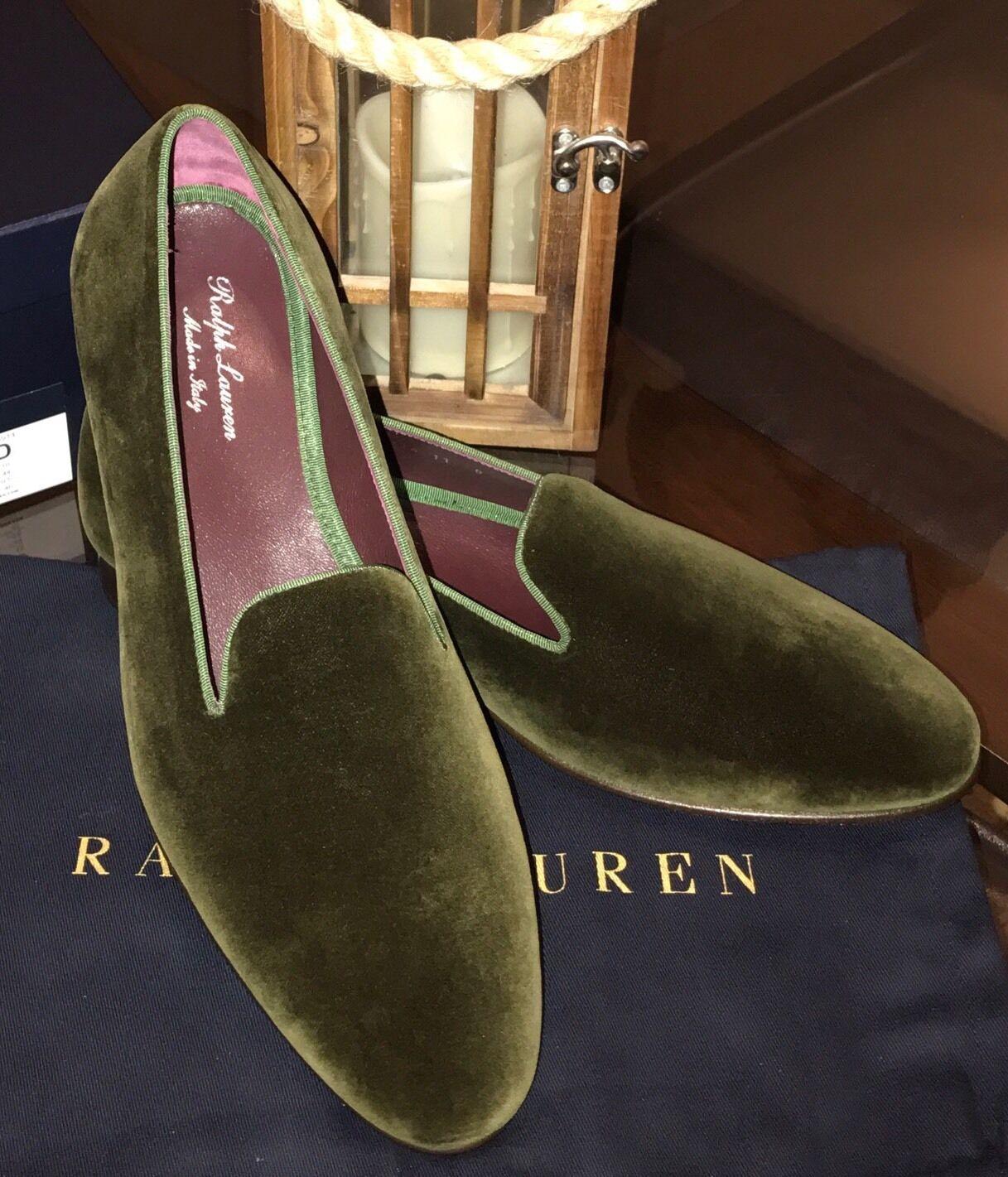 Ralph Lauren púrpura Label D Gent's verde Oliva Zapatillas Zapatos Hecho en Italia