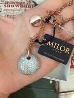 Milor Necklace 18 Italy Womens Italian 18k Gold Plated Bronze Crystals New$120