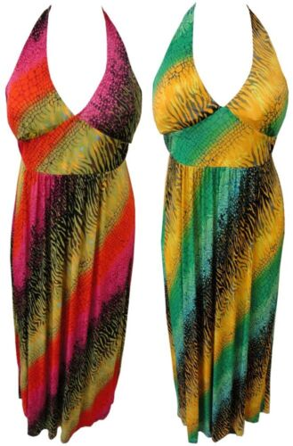 LADIES PLUS SIZE HALTER NECK MULTI COLOR PRINTED MAXI DRESSES 16-26 NEW
