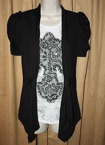 NEW-Womans-Size-S-M-or-L-Black-amp-Silver-Duet-Top-Wing-theme-by-Cocomo
