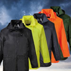 Portwest-US440-Classic-Waterproof-Rain-Jacket-wth-Pack-Away-Hood-amp-Sealed-Seams