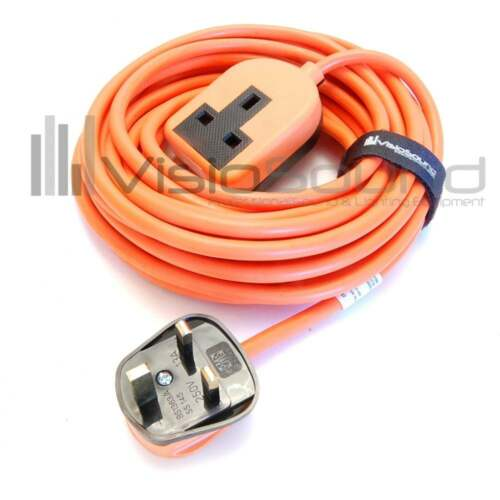 Heavy Duty Rubberised Trailing Socket Extension Lead Black Orange White
