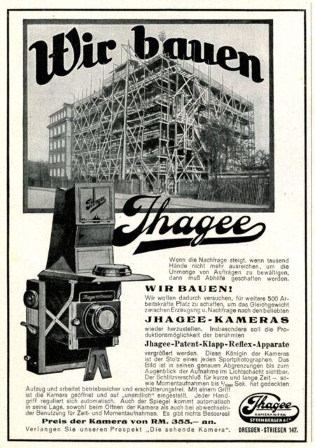 Kamera Ihagee Reklame 1929 Dresden Striesen Steenbergen & Co. Werbung