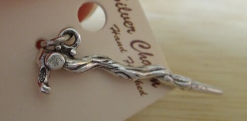 Sterling Silver 3D 34x10mm Textured Walking Stick or Cane head on handle Charm!