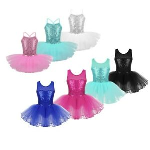 Kids-Ballet-Dance-Dress-Tutu-Skirts-Girls-Sequined-Leotard-Gymnastics-Dancewear