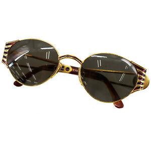 FENDI-FF-Logos-Sunglasses-Gold-Brown-Eye-Wear-Vintage-Italy-Authentic-Y414-M