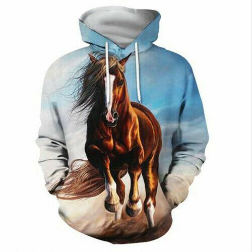 Women Men 3D Printed Pentium Horse Casual Hoodies Pullover Oversized Sweatshirts