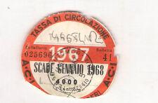 ANNO 1967 VECCHIO BOLLO ACI AUTO TASSA DI CIRCOLAZIONE MOTO MOTOCICLI VESPA B02
