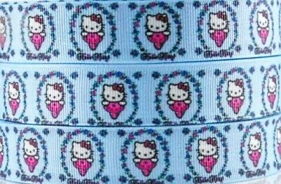 "1/"" 2 YARDS Cat Kitty Grosgrain Ribbon Hair Bows Cards Crafts Scrapbooks Teal"