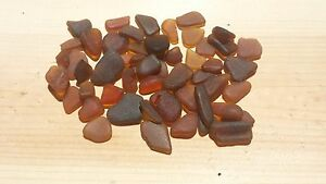 """Sea Glass - 50 Mini pieces of """"Craft Quality"""" Brown / Amber"""